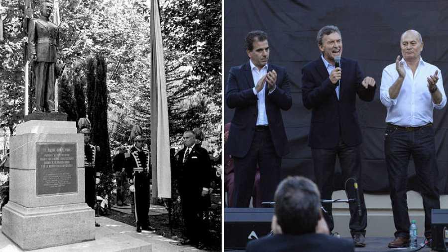 A la izquierda, imagen de la inauguración de la estatua a Perón en Madrid en 1975; a la derecha, Macri interviene tras descubrir la escultura a Perón en Buenos Aires en 2015