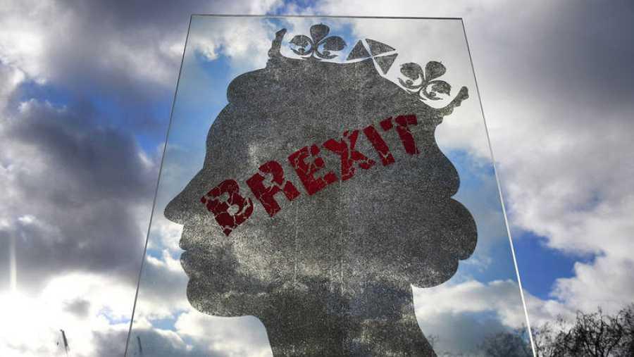 Una instalación artística de Brexit en Park Lane en Londres