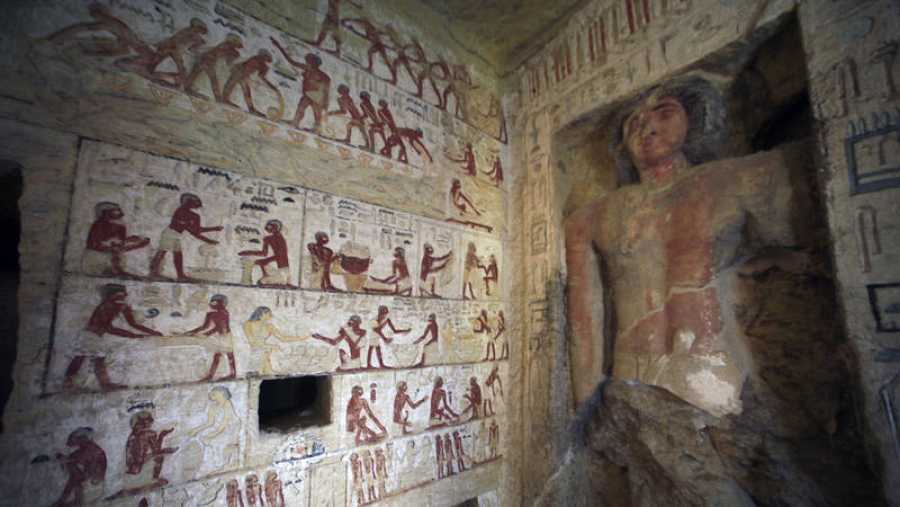 Un detalle de los frescos de la tumba