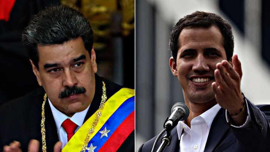 El presidente venezolano, Nicolas Maduro, y el autoproclamado presidente interino, Juan Guaidó