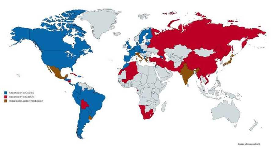 Mapa de apoyos de Guaidó y Maduro