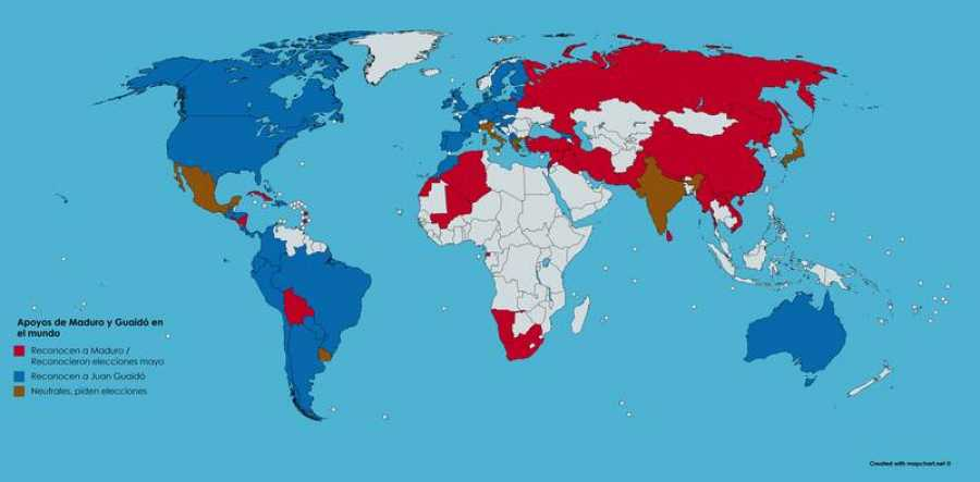 Apoyos de Maduro y Guaidó en el mundo