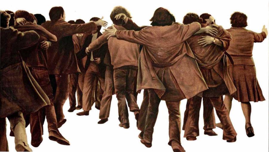 'El abrazo' de Juan Genovés luce en el Congreso como símbolo de la transición