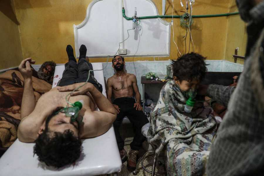 Victims of an alleged gas attack recieve treatment in Eastern Ghouta