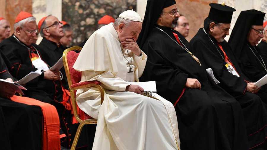 El papa Francisco durante la cumbre en la que se ha debatido la pedofilia en el seno de la Iglesia