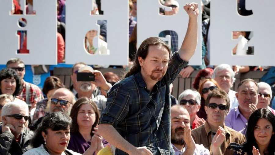 El secretario general de Podemos y candidato de Unidas Podemos a la presidencia del Gobierno, Pablo Iglesias, durante un acto en Pamplona.