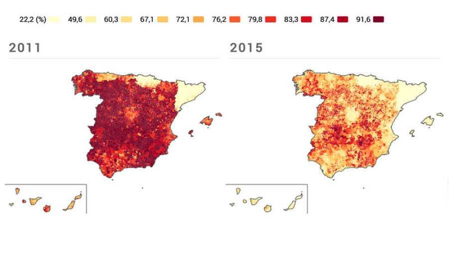 Evolución del bipartidismo en España por municipios