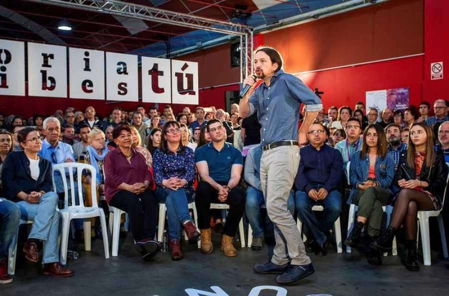 Mitin del secretario general de Podemos y candidato de Unidas Podemos a la Presidencia del Gobierno, Pablo Iglesias, en Miranda de Ebro (Burgos).