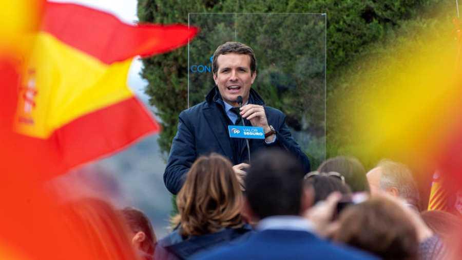Pablo Casado en un mitin electoral en Toledo