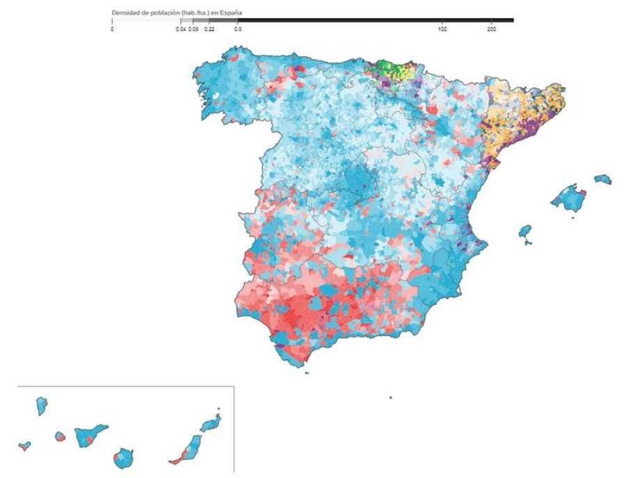 Mapa de los partidos más votados en cada municipio en 2016