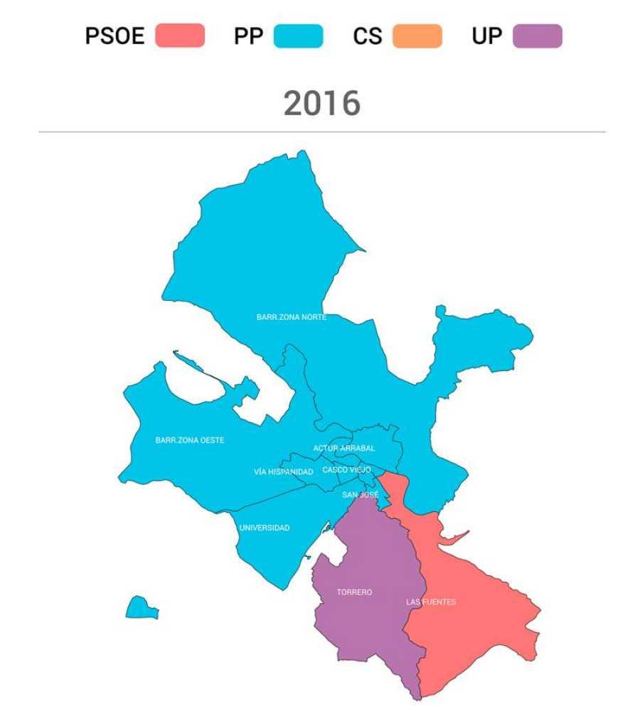 Partidos más votados en Zaragoza capital en 2016