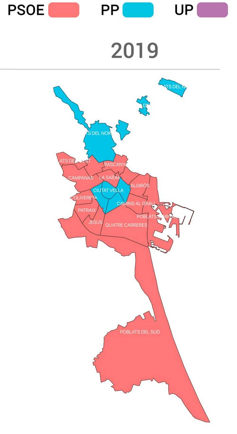Partidos más votados en Valencia capital en 2019
