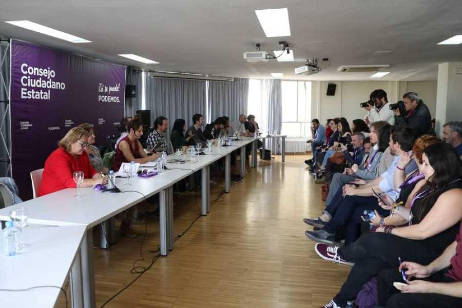 Un momento del Consejo Ciudadano Estatal (CEE) de Podemos, celebrado este lunes en Madrid, en el que la formación morada busca fijar una postura en las negociaciones con el presidente del Gobierno en funciones, Pedro Sánchez.