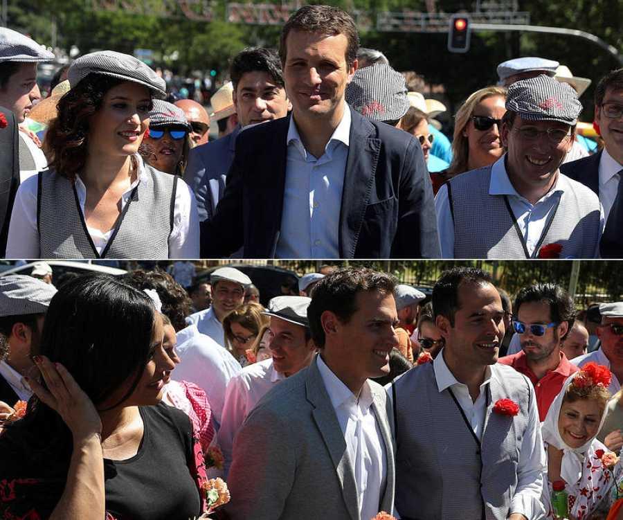 Pablo Casado y Albert Rivera, en la pradera de San Isidro en Madrid junto a sus candidatos para el 26M.