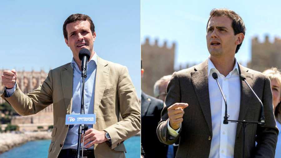 Pablo Casado, en un acto electoral en Palma y Albert Rivera atendiendo a los medios en Ávila, el 14 de mayo.