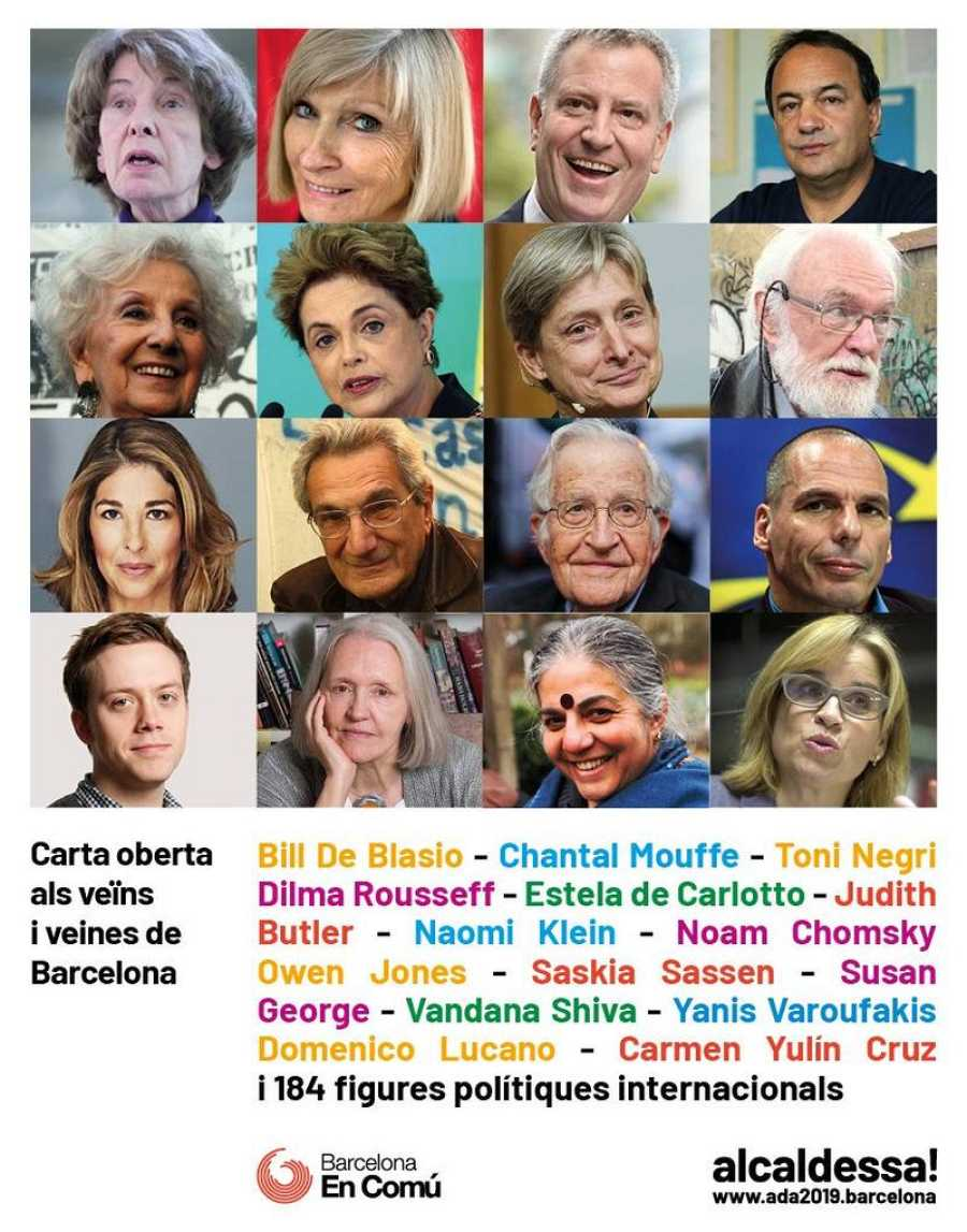 Cartel de la carta de apoyo a la candidatura de Ada Colau a la alcaldía de Barcelona.