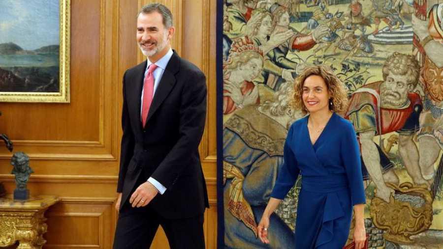 El rey Felipe VI recibe a la presidenta del Congreso Meritxell Batet en la Zarzuela