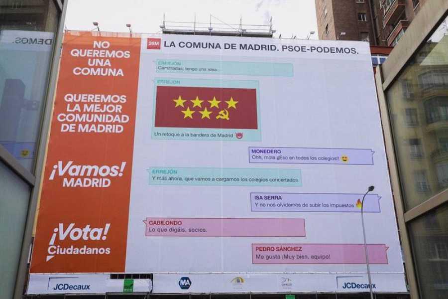 Lona de Ciudadanos Madrid que advierte contra