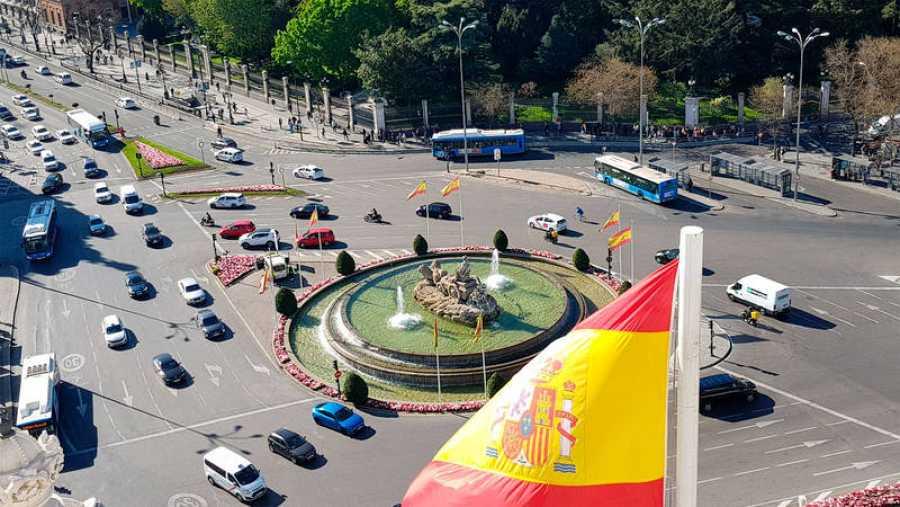 La plaza de la Cibeles vista desde la azotea del Ayuntamiento de Madrid