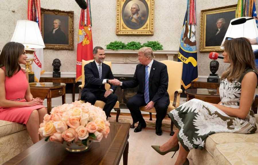 Los reyes de España, junto al presidente de EE.UU., Donald Trump, en la Casa Blanca, en junio de 2018.