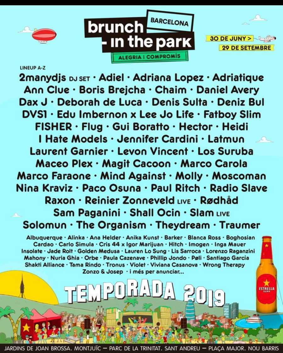 Cartel completo de Brunch -In The ParkBarcelona 2019