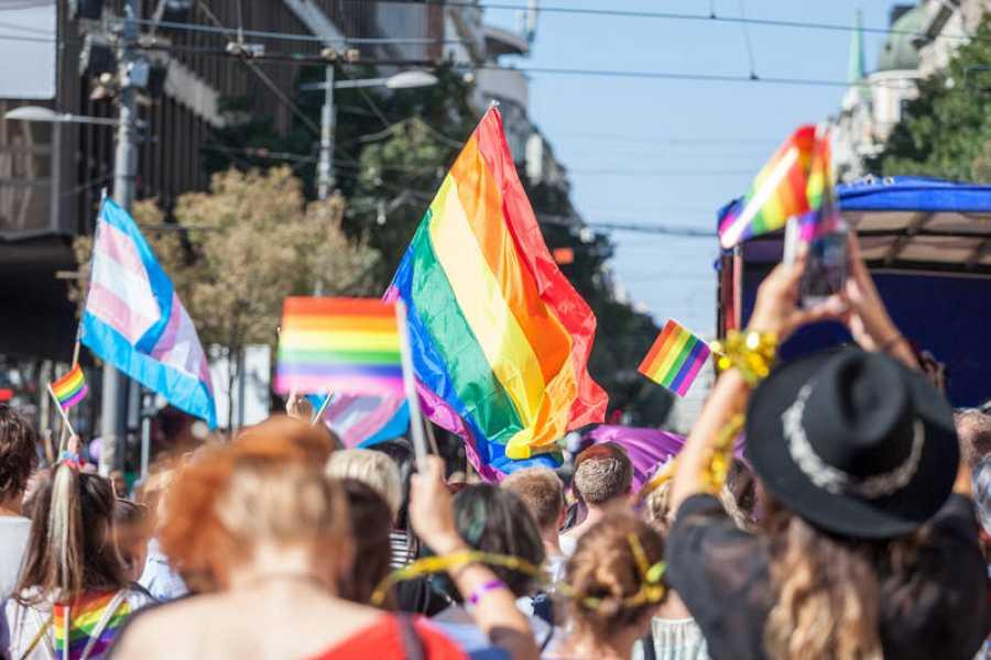 Imagen de una muchedumbre durante una manifestación del Orgullo sosteniendo banderas LGTBI y trans.