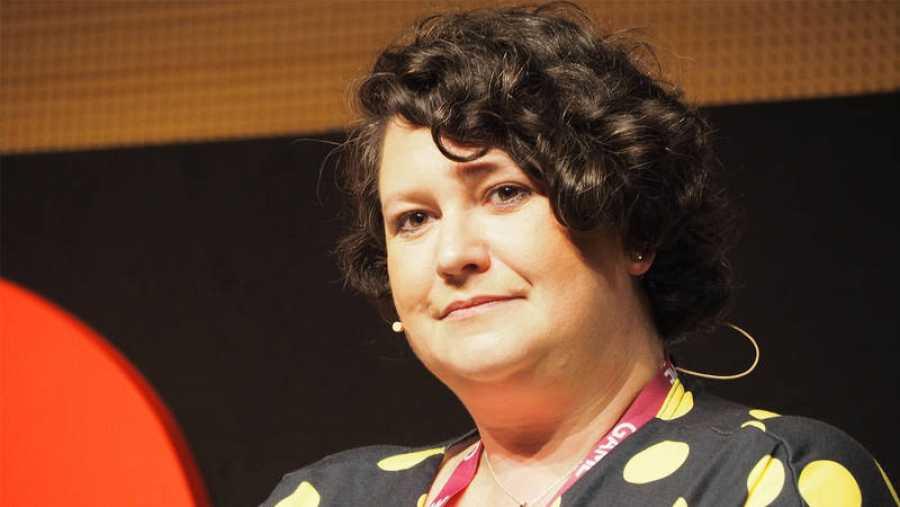 Ladirectora de Seguridad en la comunidad y Civismo digital de Roblox, Laura Higgins, durante su ponencia en Gamelab 2019 (Barcelona).