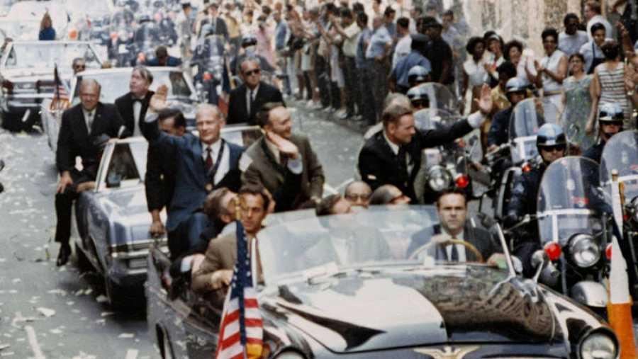 Los astronautas del Apolo 11, recibidos con honores en Nueva York.