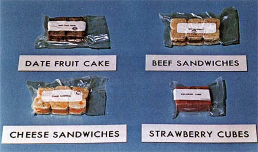 Muestra de la comida que alimentó a los astronautas del Apollo 11