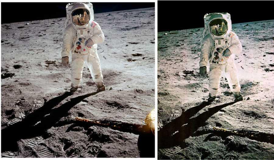 A la izquierda, la fotografía de Aldrin que tomó Armstrong; a la derecha, la versión retocada por la NASA que fue difundida.