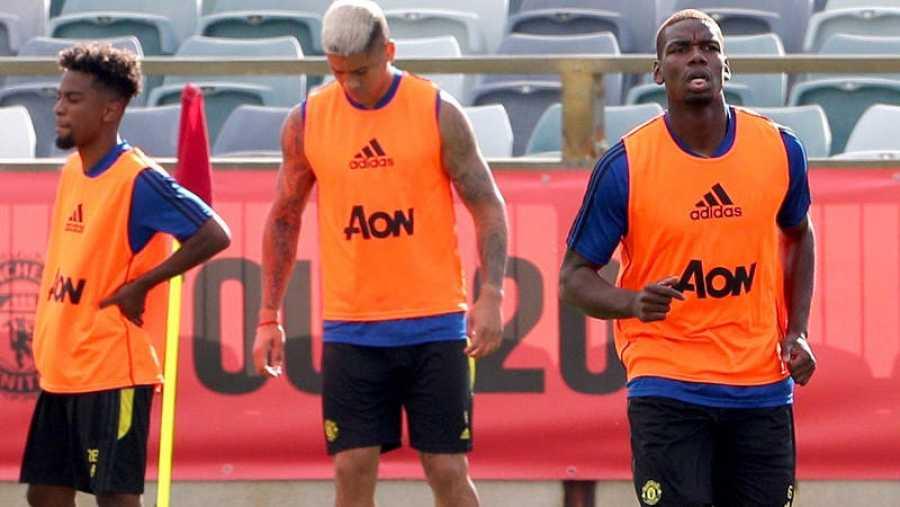 Paul Pogba, entrenando con el Manchester United.