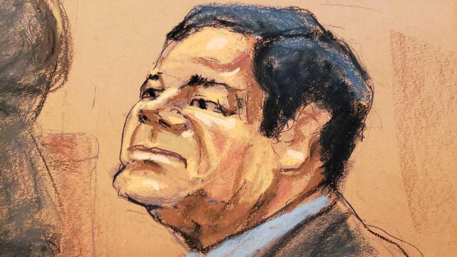 Dibujo de Joaquín el Chapo Guzman, durante el juicio celebrado contra él en Nueva York