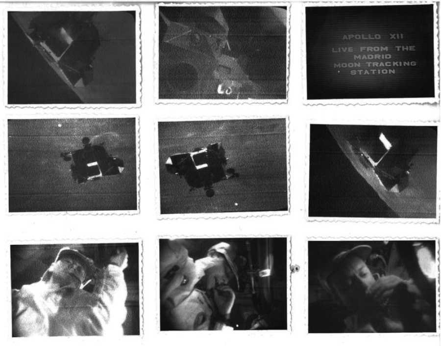 Fotos hechas por Saadia Levy del seguimiento del regreso de Apolo 12, que alunizó el 19 de noviembre de 1969, a través de los monitores de SSTV.