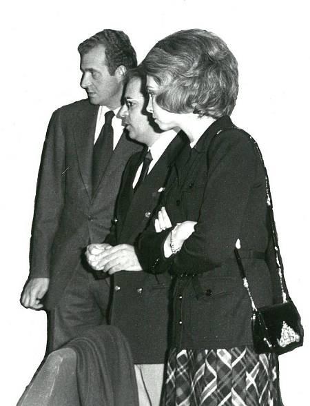 Luis Ruiz de Gopequi, director de la Estación, junto a los por entonces príncipes Juan Carlos y Sofía (año 1972).