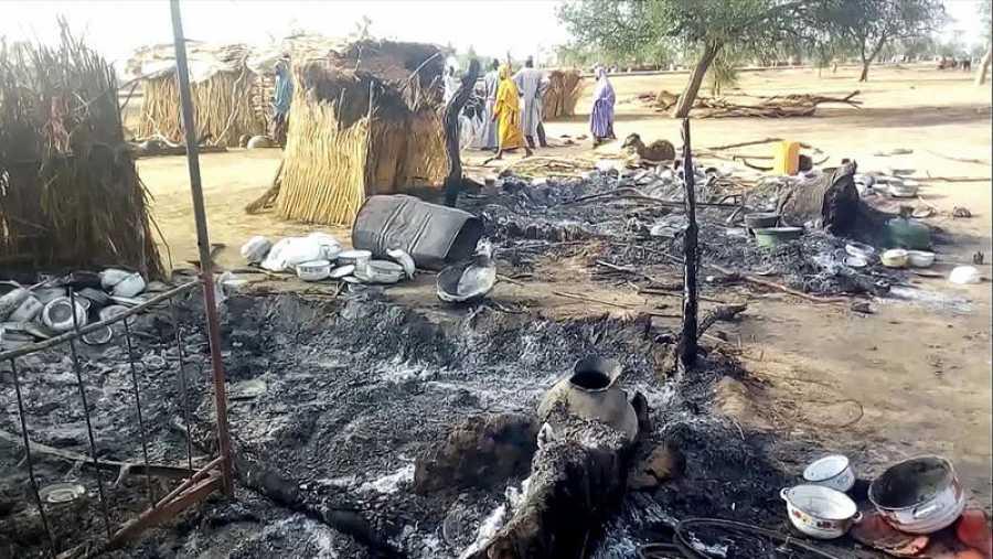 La localidad de Budu tras el ataque sufrido durante la celebración de un funeral