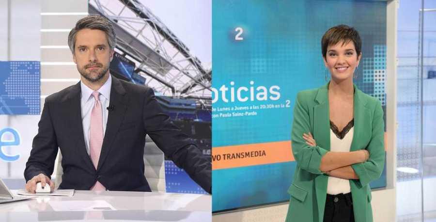 Carlos Franganillo y Paula Sainz Pardo, presentadora de 'La 2 Noticias'
