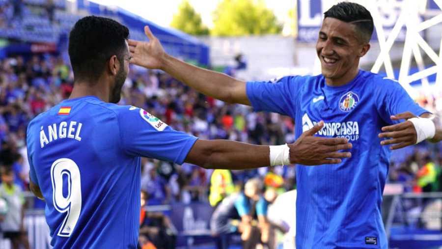 Faycal Fajr (derecha) celebra un gol en su anterior etapa con el Getafe.