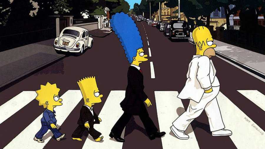 Los Simpson parodian la portada de 'Abbey Road'.