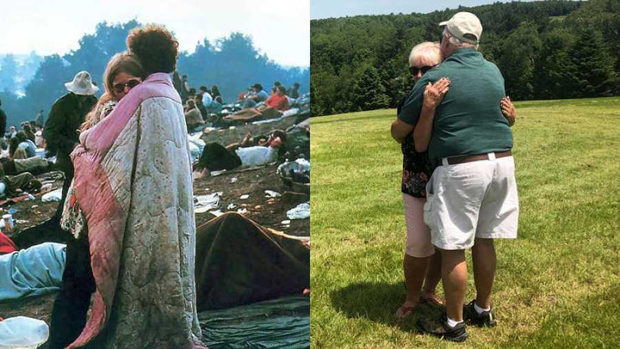 A la izquierda, la mítica foto de Woodstock; a la derecha,Nick y Bobby Ercoline, en la actualidad.
