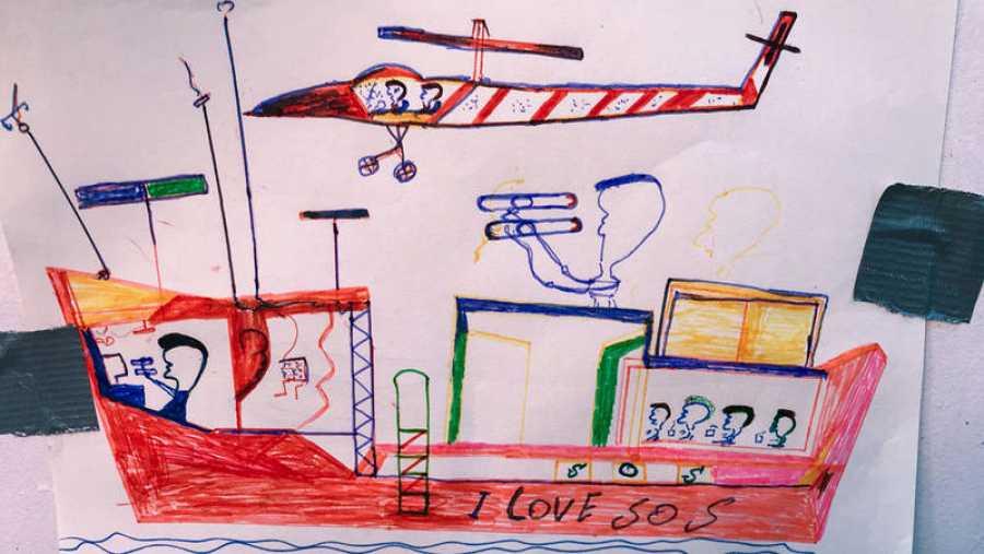Dibujo realizado por uno de los más de cien menores rescatados por el Ocean Viking en el Mediterráneo Central