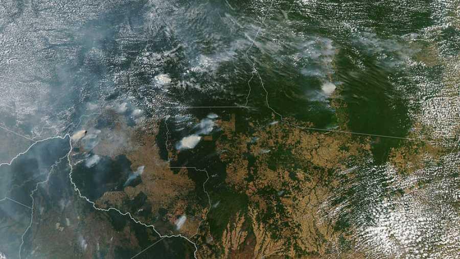 Imagen de satélite de los incendios en la Amazonía. Son visibles incendios en los estados de Amazonas (arriba, centro izquierda), Para (arriba a la derecha), Mato Grosso (abajo a la derecha)yRondonia (abajo, centro) el 11 de agosto de 2019.