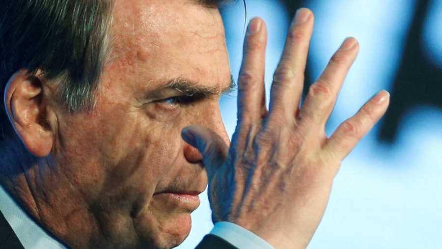 El presidente de Brasil, el ultraderechista Jair Bolsonaro, durante una conferencia en Brasilia. REUTERS/Adriano Machado