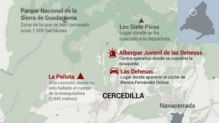 Mapa del lugar donde ha sido encontrado el cuerpo de Blanca Fernández Ochoa.