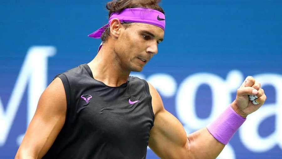 Rafa Nadal celebra uno de sus puntos