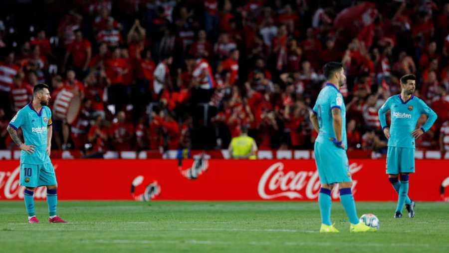 Jugadores del Barça lamentan la derrota