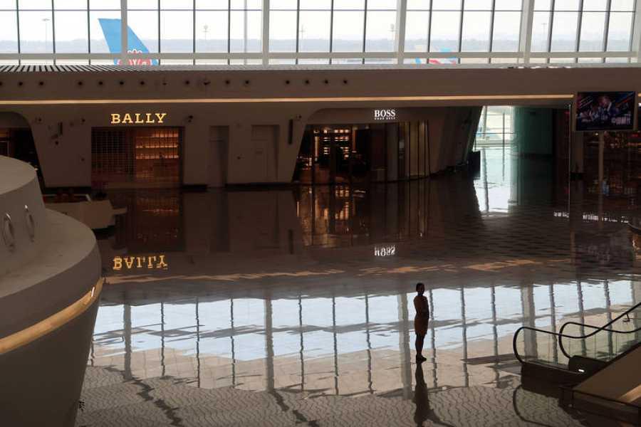 Zona comercial del nuevo aeropuerto de Pekín