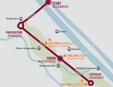 Plano del recorrido del maratón 'INEOS159' en Viena