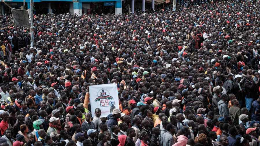 Imagen de una plaza de Nairobi donde se ha visto y celebrado la maratón de Kipchoge