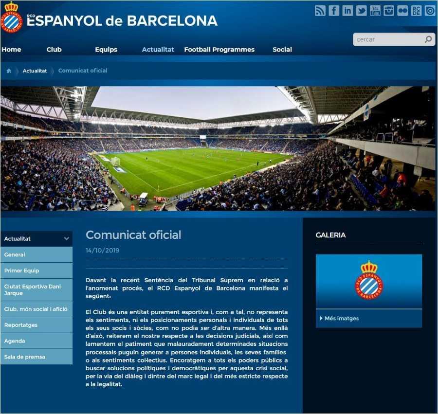Comunicat de l'Espanyol FC