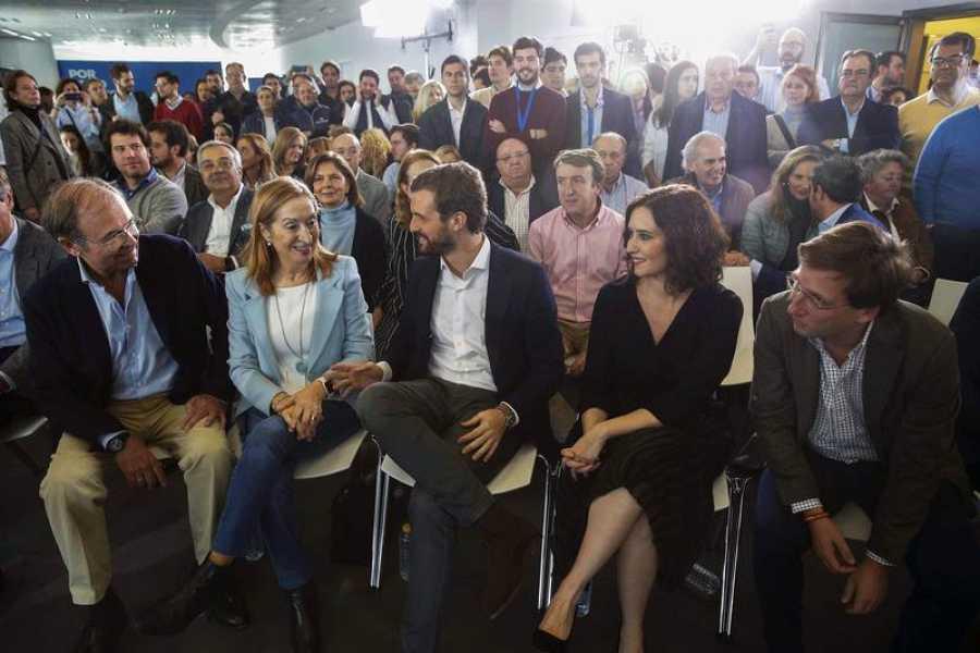 El presidente del PP, Pablo Casado, clausura un acto en Madrid